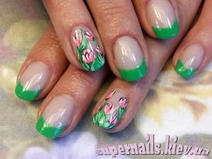 френч зеленый с тюльпанами