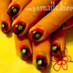 маки на ногтях, красные маки ногти, ногти с символом Украины, ногти к празднику