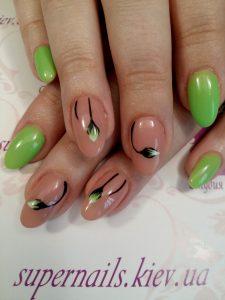 весенние цветы на ногтях