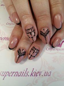 черная кружевная роспись на ногтях