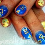 ногти абстрация, желто-голубые ногти, жовто-блакитний дизайн нігтів