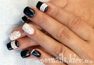 черно-белые ногти на позняках